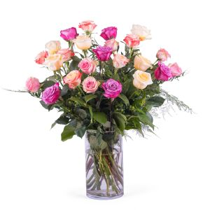 24 Long-stemmed Multicoloured Roses